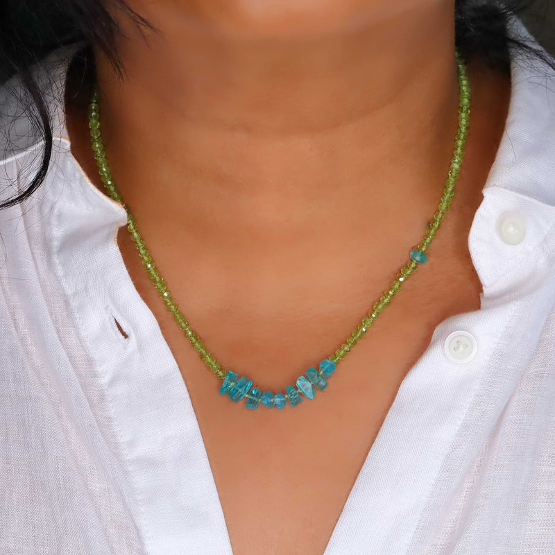 Alonnisos - Peridot and Apatite Nugget Silk Knotted Necklace life style image | Breathe Autumn Rain Artisan Jewelry