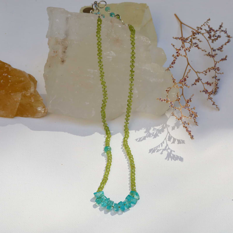 Alonnisos - Peridot and Apatite Nugget Silk Knotted Necklace main image | Breathe Autumn Rain Artisan Jewelry