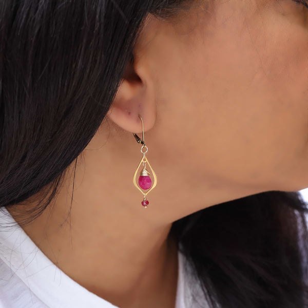 Amelie - Dainty Ruby Teardrop Gold Earrings life style image | Breathe Autumn Rain Artisan Jewelry