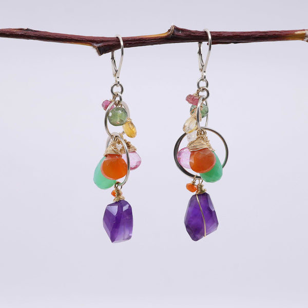 Amethyst Topaz Multi-Gemstone Earrings main image | Breathe Autumn Rain Artisan Jewelry