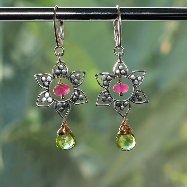 Annisa - Sterling Silver Lotus Mandala Gemstone Earrings alt image | Breathe Autumn Rain Artisan Jewelry
