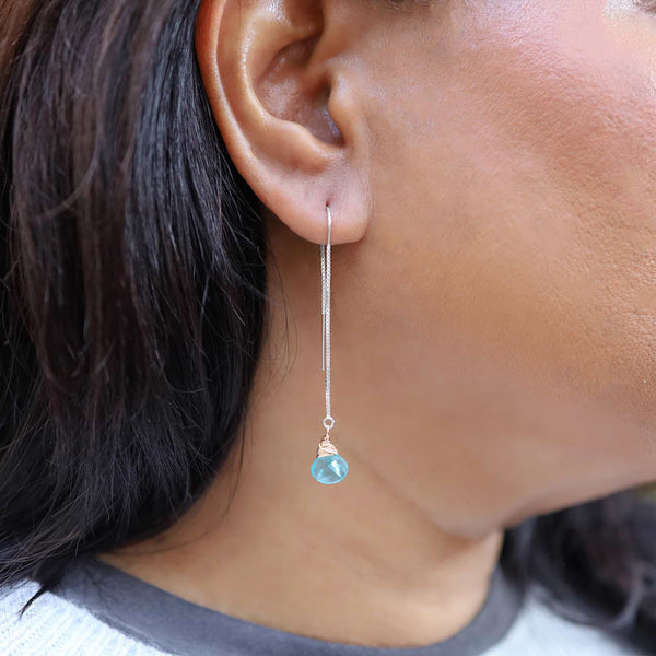 Apatite Gemstone Silver Thread Earrings life style image | Breathe Autumn Rain Artisan Jewelry