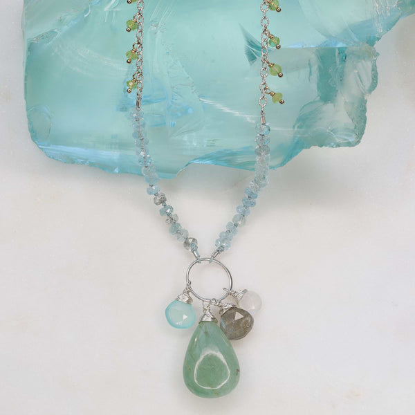 Aquamarine Peridot Multi-Gemstone Necklace main image | Breathe Autumn Rain Artisan Jewelry
