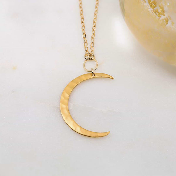 Artemis - Large Gold Hammered Waning Crescent Moon Necklace - main image | Breathe Autumn Rain Artisan Jewelry
