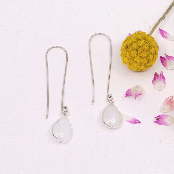 Artic Trek - Long Moonstone Sterling Silver Earrings main image | Breathe Autumn Rain Artisan Jewelry