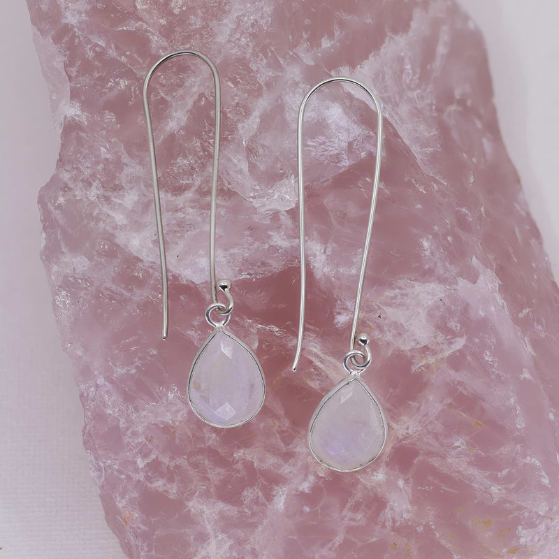 Artic Trek - Long Moonstone Sterling Silver Earrings alt image | Breathe Autumn Rain Artisan Jewelry