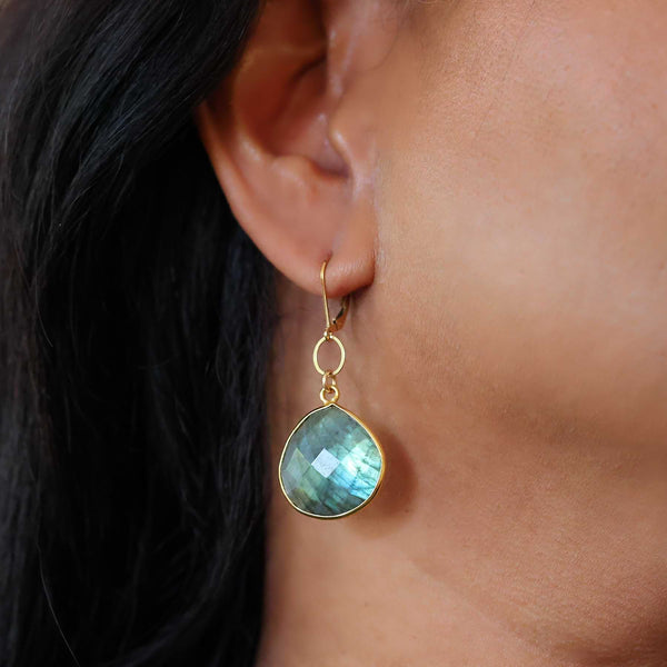 Aurora - Large Labradorite Gold Earrings