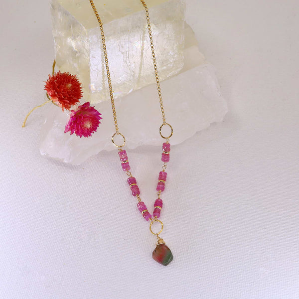 Autumn In Abundance - Tourmaline and Pink Sapphire Gold Necklace main image | Breathe Autumn Rain Artisan Jewelry