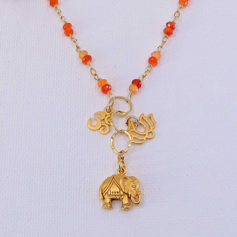 Bali in Bloom - Carnelian Gold Elephant Lotus Om Pendants Necklace detail image | Breathe Autumn Rain Artisan Jewelry