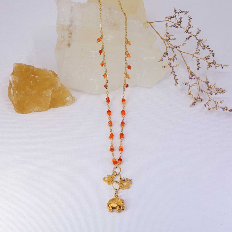 Bali in Bloom - Carnelian Gold Elephant Lotus Om Pendants Necklace alt image | Breathe Autumn Rain Artisan Jewelry
