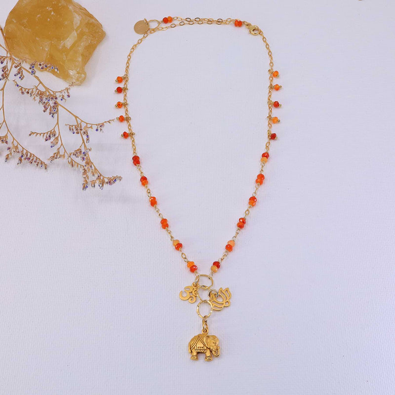 Bali in Bloom - Carnelian Gold Elephant Lotus Om Pendants Necklace main image | Breathe Autumn Rain Artisan Jewelry