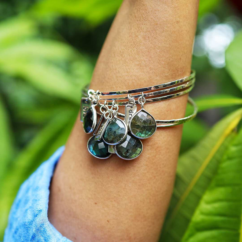 A Bangle of Wishes - Labradorite Empowerment Silver Word Charm Bangle Bracelet