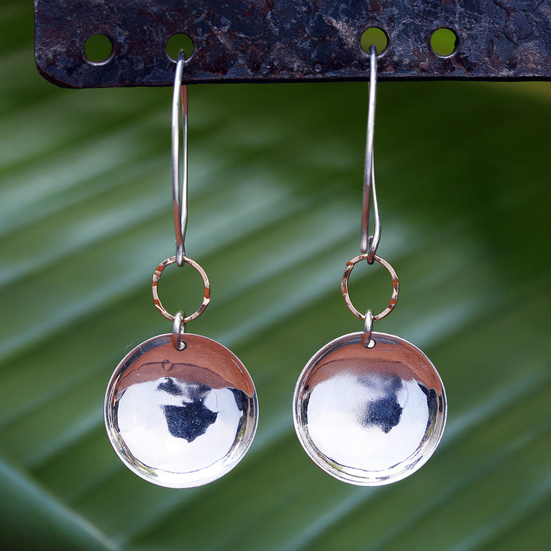 Barbados - Hammered Dome Earrings in Sterling Silver or Gold Filled - BreatheAutumnRain