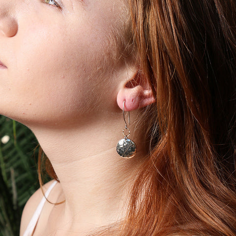 Barbados - Hammered Dome Earrings in Sterling Silver or Gold Filled