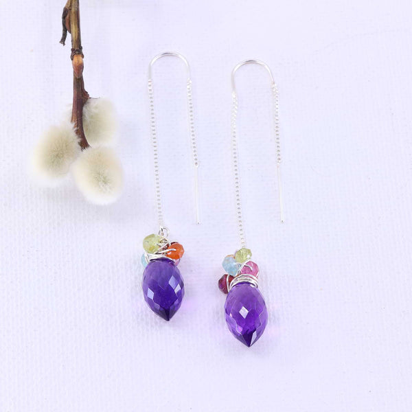 Beatrix - Amethyst Quartz Multi-Gemstone Silver Thread Earrings main image | Breathe Autumn Rain Artisan Jewelry