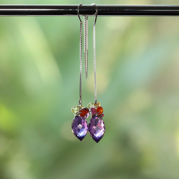 Beatrix - Amethyst Quartz Multi-Gemstone Silver Thread Earrings alt image | Breathe Autumn Rain Artisan Jewelry