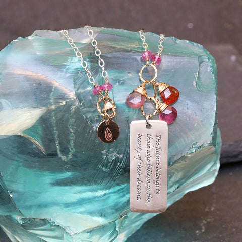 "Believe In Your Dreams ""Bloom"" - Tourmaline Pendant Empowerment Necklace"