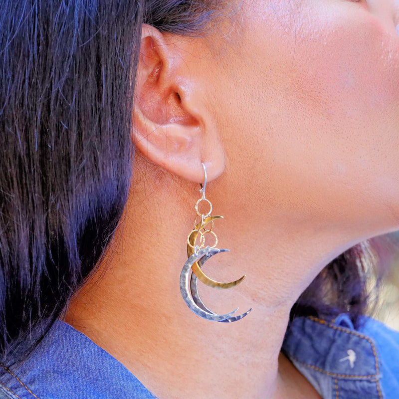 Bewitched - Crescent Moon Dangling Mobile Earrings life style image | Breathe Autumn Rain Artisan Jewelry