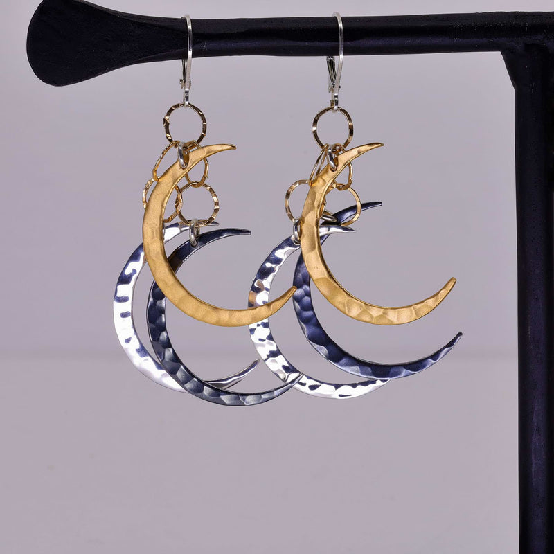 Bewitched - Crescent Moon Dangling Mobile Earrings main image | Breathe Autumn Rain Artisan Jewelry