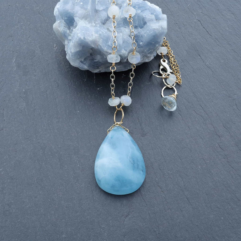Big Blue Sky - Aquamarine Necklace alt image | Breathe Autumn Rain Artisan Jewelry