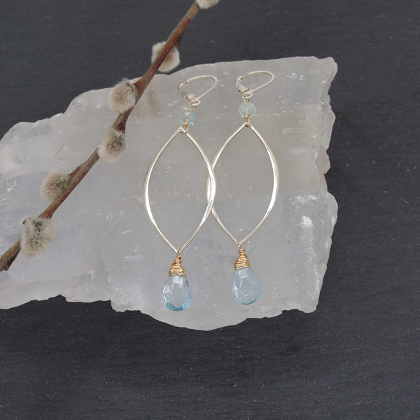 Big Sur - Sky Blue Silver Drop Earrings main image | Breathe Autumn Rain Artisan Jewelry