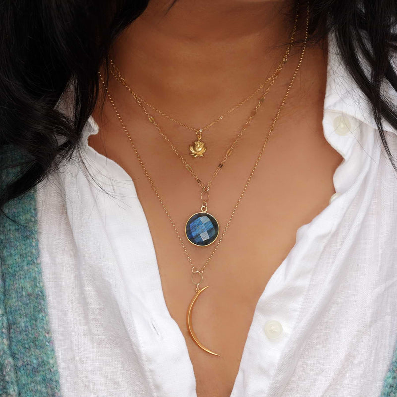 Blue Moon - Double Layered Labradorite and Crescent Moon Necklace life style image | Breathe Autumn Rain Artisan Jewelry