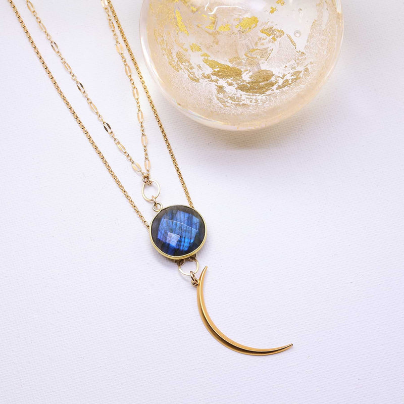 Blue Moon - Double Layered Labradorite and Crescent Moon Necklace main image | Breathe Autumn Rain Artisan Jewelry