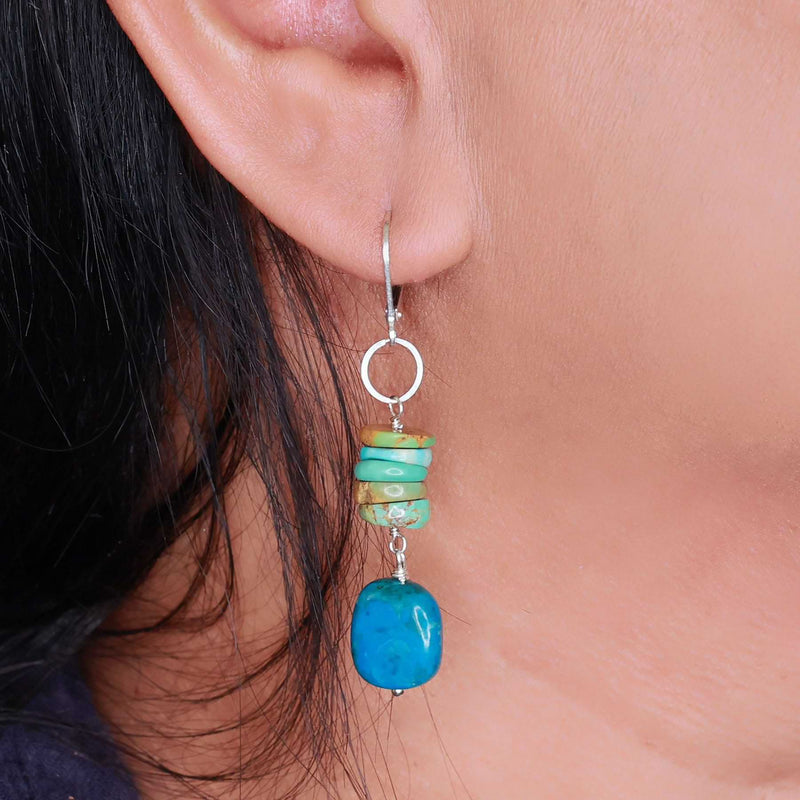 Blue Water - Chrysocolla and Turquoise Silver Earrings life style image | Breathe Autumn Rain Artisan Jewelry