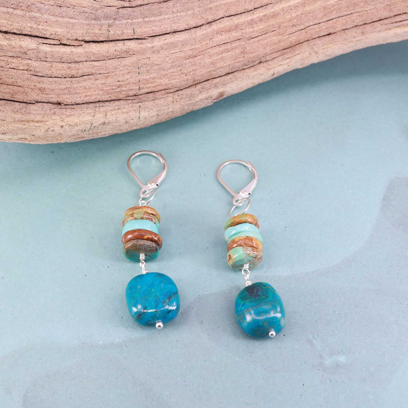 Blue Water - Chrysocolla and Turquoise Silver Earrings main image | Breathe Autumn Rain Artisan Jewelry