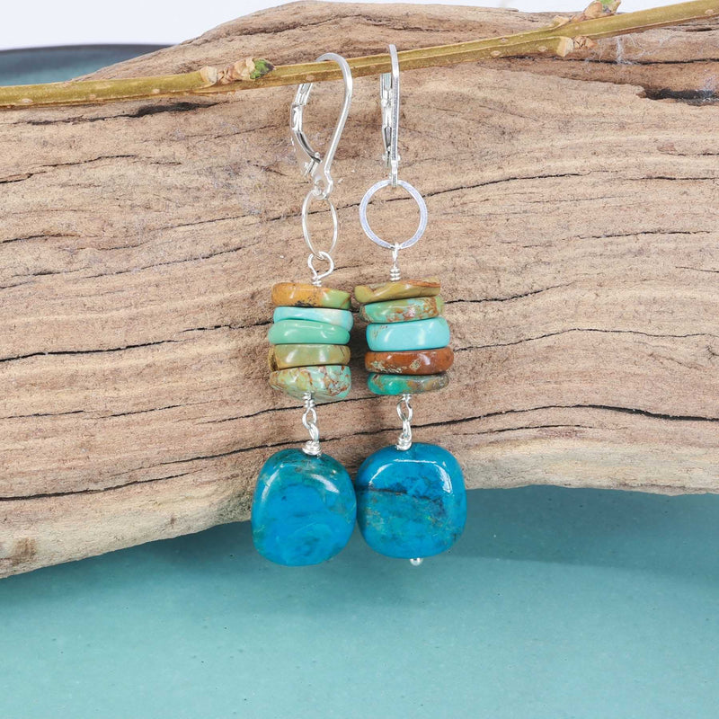 Blue Water - Chrysocolla and Turquoise Silver Earrings alt image } Breathe Autumn Rain Artisan Jewelry