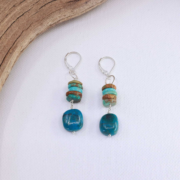 Blue Water - Chrysocolla and Turquoise Silver Earrings main image } Breathe Autumn Rain Artisan Jewelry