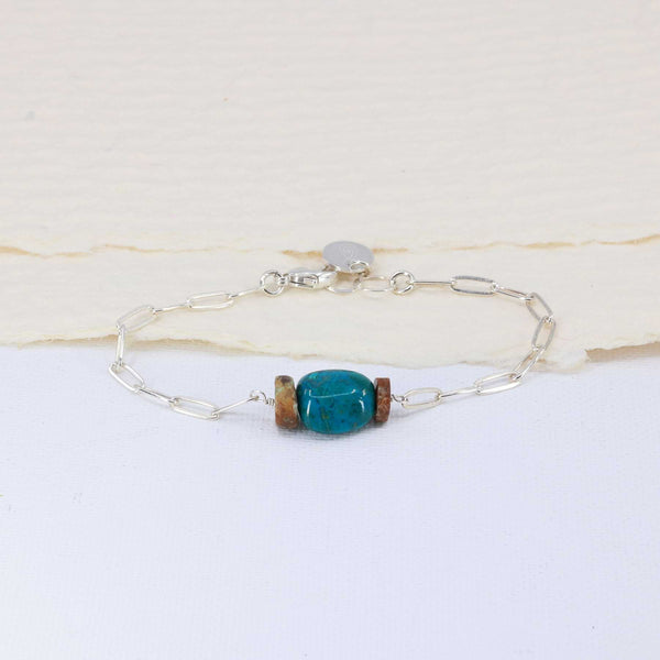 Blue Water - Chrysocolla Silver Stacking Bracelet main image | Breathe Autumn Rain Artisan Jewelry