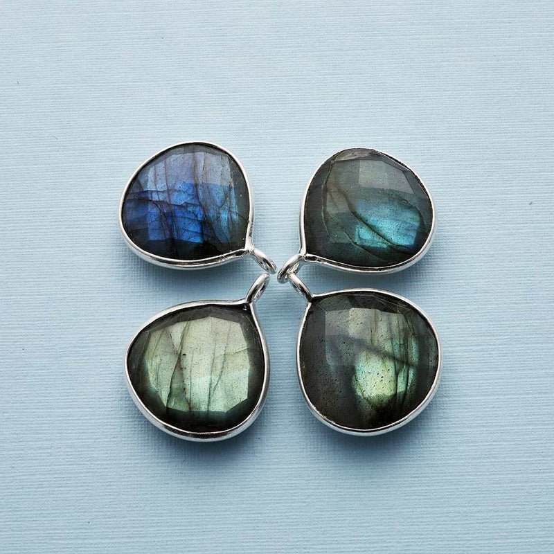 Oslo Nights - Faceted Labradorite Bezel Teardrop Earrings - sample images | BreatheAutumnRain