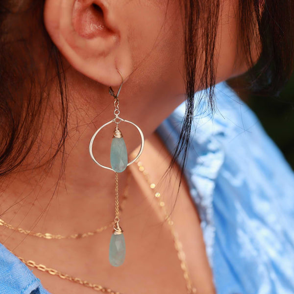 Breeze - Aquamarine Drop Earrings life style image | Breathe Autumn Rain Artisan Jewelry