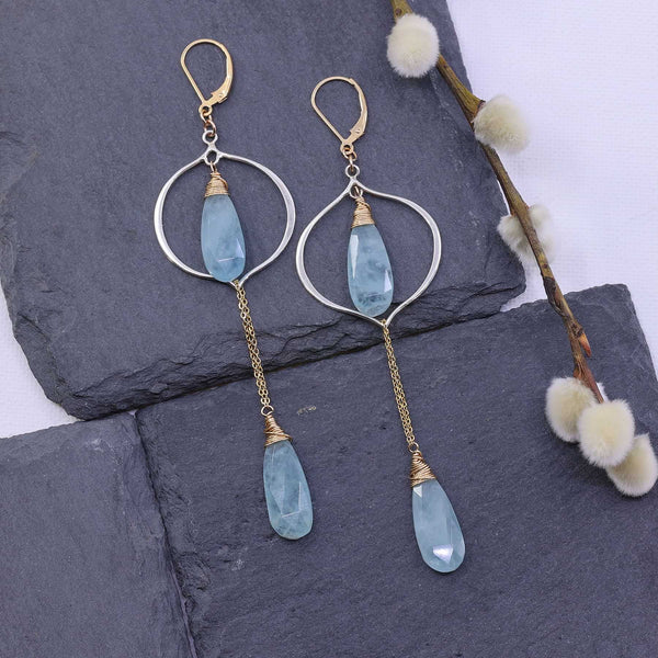 Breeze - Aquamarine Drop Earrings main image | Breathe Autumn Rain Artisan Jewelry