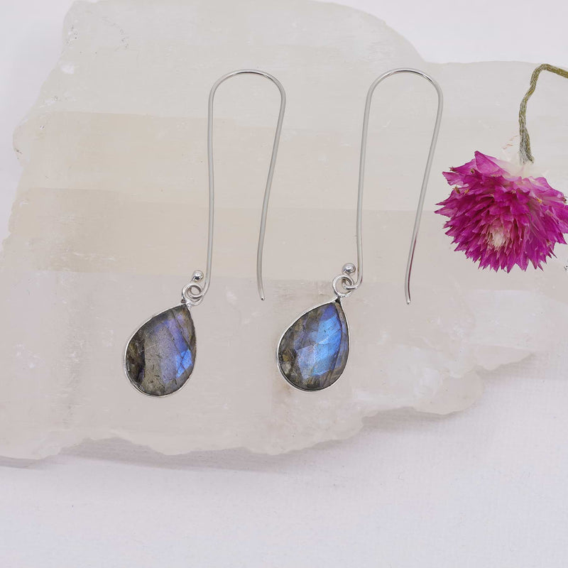 Brunswick - Long Labradorite Sterling Silver Earrings alt image | Breathe Autumn Rain Artisan Jewelry