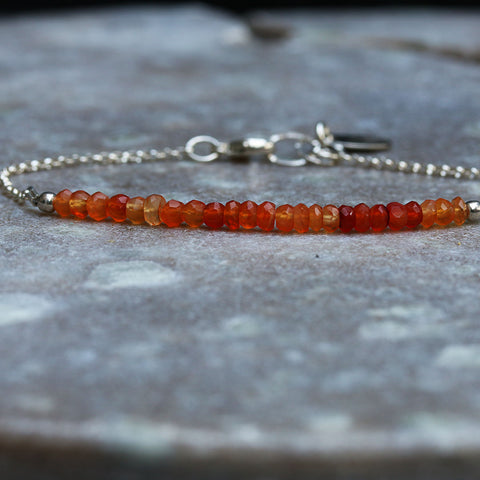 California Poppy - Ombre Carnelians Sterling Silver Stacking Bracelet