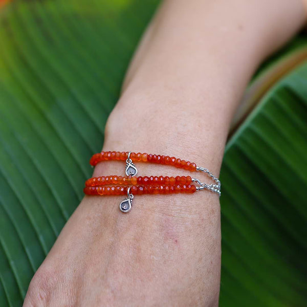 California Poppy - Ombre Carnelians Sterling Silver Stacking Bracelet - life style image | BreatheAutumnRain