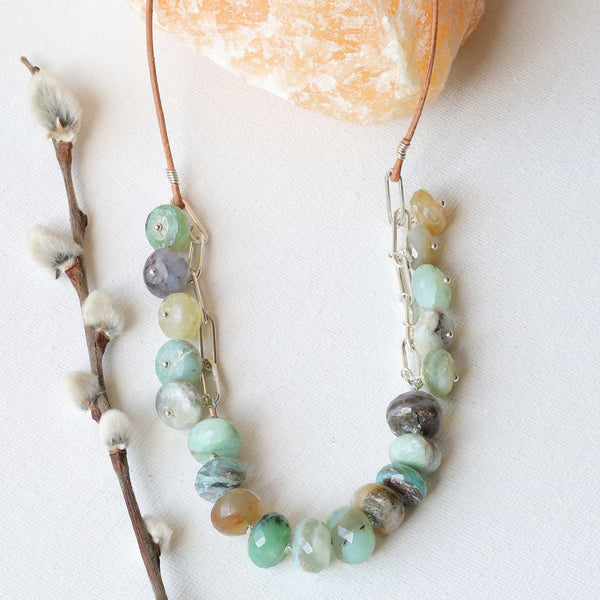 Calypso - Peruvian Opal Silver Necklace main image | Breathe Autumn Rain Artisan Jewelry