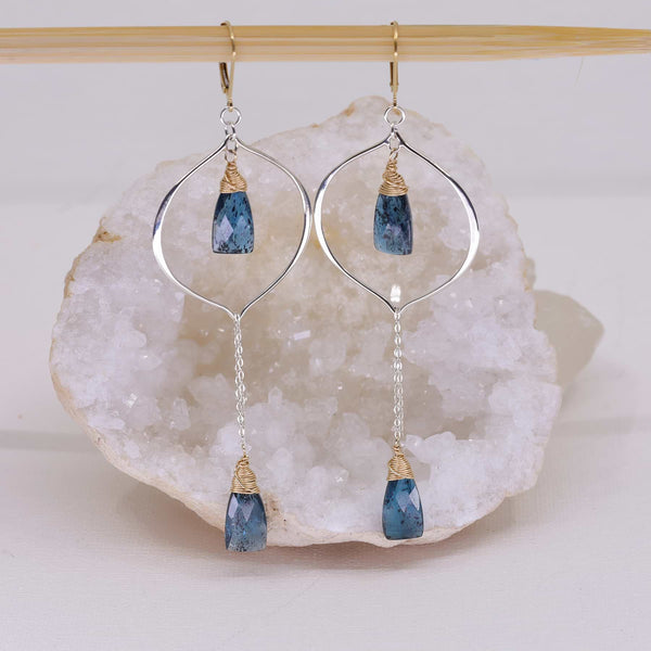 Kyanos - Blue Kyanite Drop Earrings alt image | Breathe Autumn Rain Artisan Jewelry