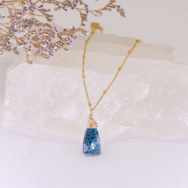 Camden - Kyanite Pendant Gold Necklace main image | Breathe Autumn Rain Artisan Jewelry