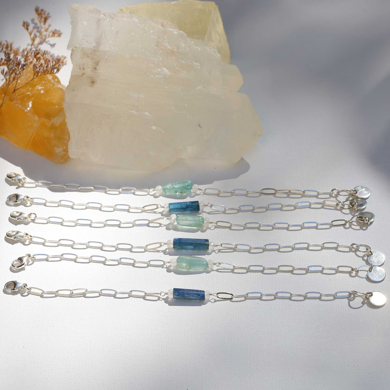Camille - Raw Kyanite or Organic Aquamarine Sterling Silver Chain Bracelet alt image | Breathe Autumn Rain Artisan Jewelry