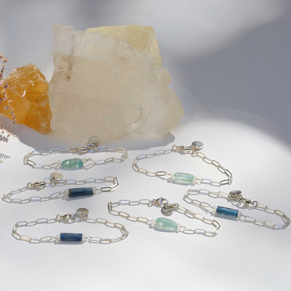 Camille - Raw Kyanite or Organic Aquamarine Sterling Silver Chain Bracelet main image | Breathe Autumn Rain Artisan Jewelry
