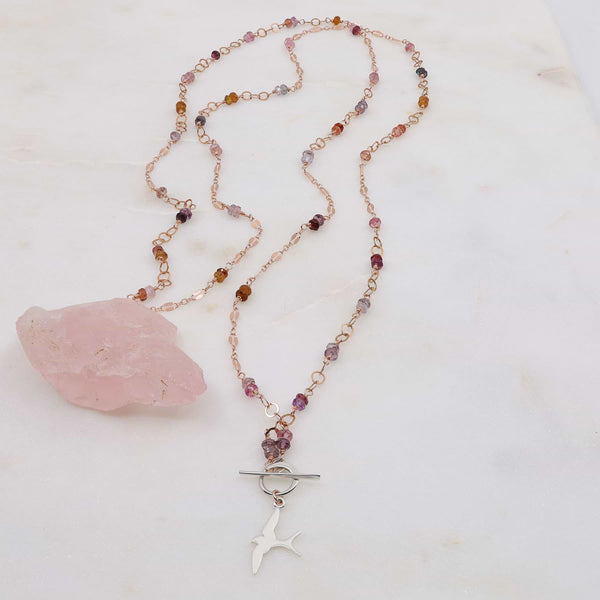 Capistrano - Rose Gold Sapphire or Spinel Lariat Necklace main image | Breathe Autumn Rain Artisan Jewelry