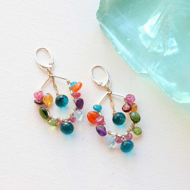 Carnivale - Multi-Gemstone Mixed Metal Earrings main image | Breathe Autumn Rain Artisan Jewelry