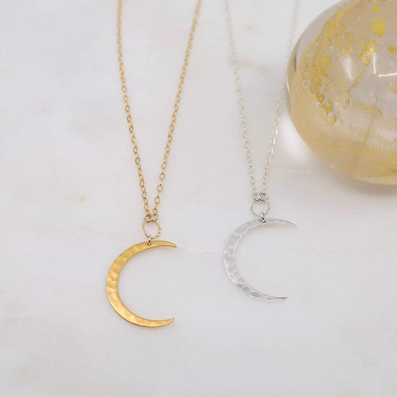 Chandra and Artemis - Large Hammered Waning Crescent Moon Necklace | Breathe Autumn Rain