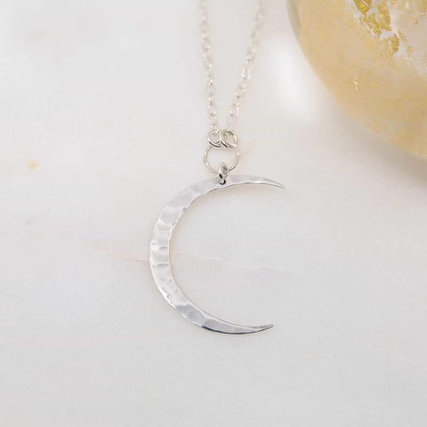 Chandra - Crescent Moon Sterling Silver Hammered Pendant Necklace