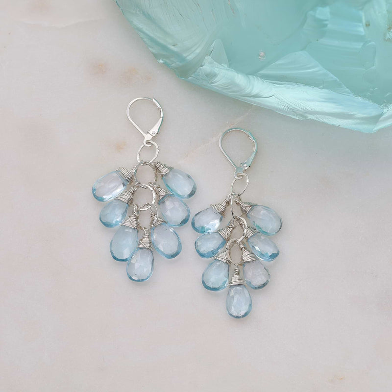 Copenhagen - Sky Blue Topaz Silver Teardrop Cluster Earrings alt image | Breathe Autumn Rain Artisan Jewelry