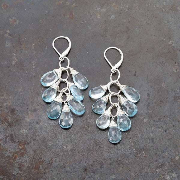 Copenhagen - Sky Blue Topaz Silver Teardrop Cluster Earrings main image | Breathe Autumn Rain Artisan Jewelry
