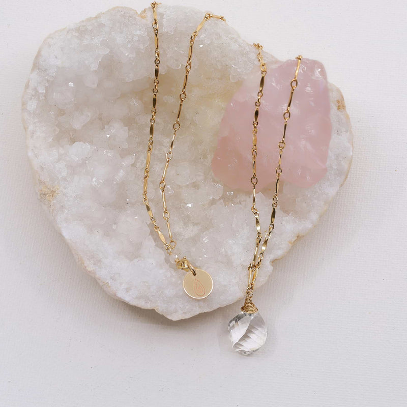 Croft - Quartz Crystal Pendant Gold Necklace alt image | Breathe Autumn Rain Artisan Jewelry